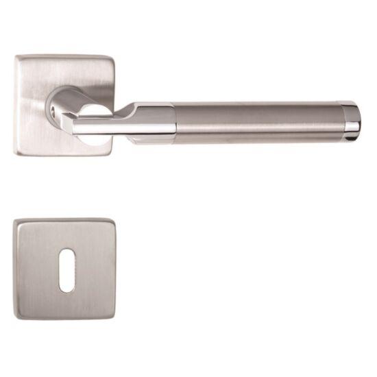 RIMINI króm-rozsdamentes acél ajtókilincs négyzetrozettával