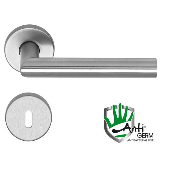 Thema AntiGERM antibaktriális rozsdamentes acél ajtókilincs körrozettával